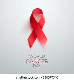 World Cancer Day Awareness Ribbon. Vector illustration.