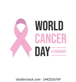 World cancer day concept. World awareness ribbon of cancer. Preventive health care vector banner