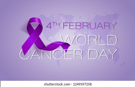 World Cancer Day concept. Lavender Ribbon. Vector illustration.