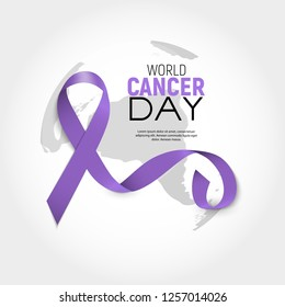 World Cancer Day concept with Lavender Ribbon. Vector illustration. EPS10
