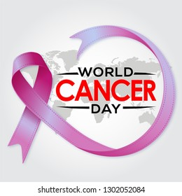 World Cancer Day elegant Design Template Vector. Use for Card, Poster,  Banner, web with nice and creative design illustration beautiful abstract love purple ribbon world healthy concept