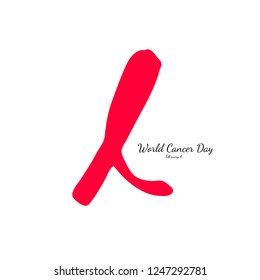 World Cancer Day, February 4. Hand drawn red ribbon. Vector illustration.