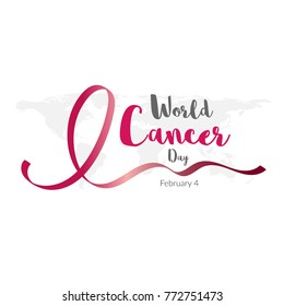 World cancer day. February 4. World cancer day design background with pink ribbon Calligraphy Poster Design. Vector Illustration.