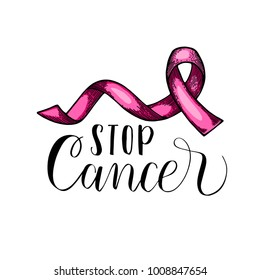 World Cancer Day. pink ribbon. Isolated vector illustration. Lettering quote stop cancer