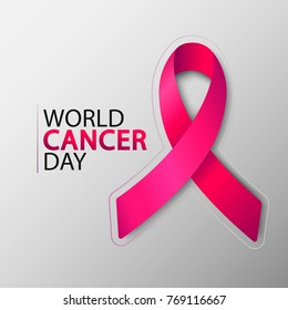 World Cancer Day with ribbon. February 4