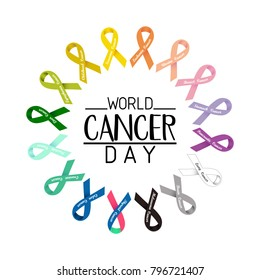 World cancer day text. colorful awareness ribbons isolated over white background.