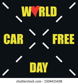 world car free day, poster with heart, road marking