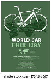 World Car Free Day Poster Advertising Template Vector Illustration