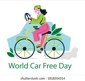 World Car free day, September 22 vector flat icon. World car free day environment banner concept vector illustration icon.