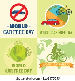 World car free day walking environment banner concept set. Flat illustration of 4 World car free day walking environment vector banner concepts for web