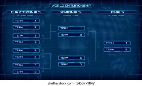 World championship blue template background screen. Holographic map with schedule. Championship bracket design concept. Eps10 vector
