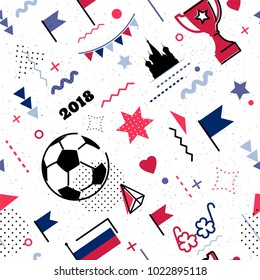 World championship cup abstract background in 80s memphis style. Seamless memphis pattern for posers and cards. Colors of russian national flag. Vector illustration