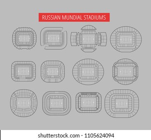 world championship stadiums vector set. Top view