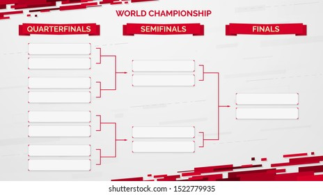 World championship template on a white background. Championship bracket background design with red ribbons. Eps10 vector