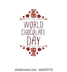 World chocolate day handlettering elements with doodle heart shaped chocolate candies on white background