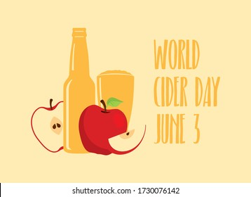 World Cider Day vector. Apple juice icon vector. Apple cider vector. Apples with bottle and glass vector. Fermented fruit drink icon. Cider Day Poster, June 3. Important day