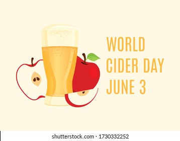 World Cider Day vector. Apple juice icon vector. Apple cider vector. Glass of cider with apples vector. Fermented fruit drink icon. Cider Day Poster, June 3. Important day