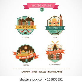 World Cities labels and icons - Amsterdam, Venice, Jerusalem, Vancouver