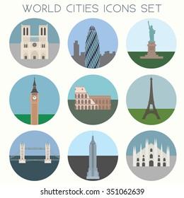 World Cities landmarks & symbols - Icons Set - Vector EPS10