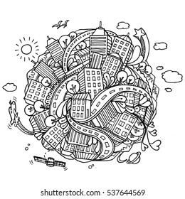 world city doodles elements background.- Vector illustration