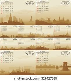 world city skyline calendar