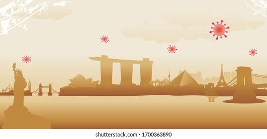 world city skyline vector illustration