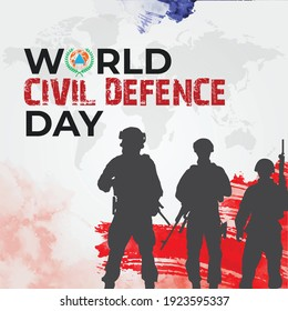 World Civil Defence Day. world defence icon background