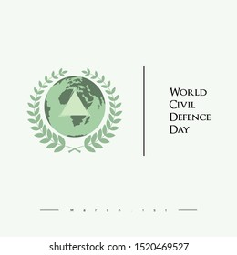 World Civil Defence Day with a symbol of rice surrounding the earth and a triangular symbol
