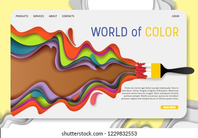 World of color landing page website template. Vector paper cut paintbrush and colored paint brush stroke. Colorful paint layers in paper craft style.