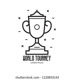 World competition logo template with trophy cup icon in line art. Winner logo or emblem with chalice sport prize on pedestal.