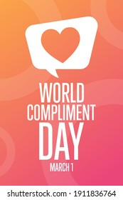 World Compliment Day. March 1. Holiday concept. Template for background, banner, card, poster with text inscription. Vector EPS10 illustration