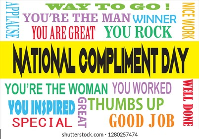 World compliment day typography background, with various kinds of praise words