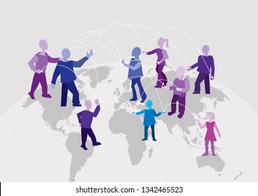 World connection. Different people around the world work together, communicate and exchange information, concept
