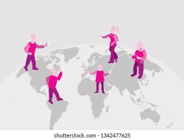 World connection. international team works together. Communication on the Internet, concept
