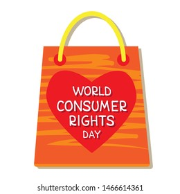World consumer rights day. Vector conceptual illustration. Isolated shopping bag with lettering. Design element for leaflet, poster, banner or booklet.