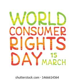 World consumer rights day. Vector conceptual illustration. Design element for leaflet, poster, banner or booklet.
