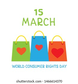 World consumer rights day. Vector conceptual illustration. Lettering and shopping bags. Design element for leaflet, poster, banner or booklet.