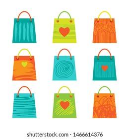 World consumer rights day. Vector conceptual illustration. Shopping bags set. Design element for leaflet, poster, banner or booklet.