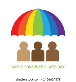 World consumer rights day. Vector conceptual illustration. Multiethnic people under the umbrella . Design element for leaflet, poster, banner or booklet.