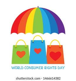 World consumer rights day. Vector conceptual illustration. Umbrella and shopping bags. Design element for leaflet, poster, banner or booklet.