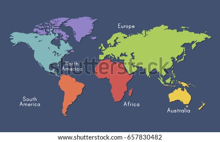 World Continent Map Location Graphic Illustration Stock Vector ...