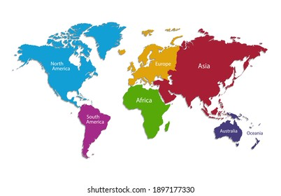 World continents map, separate individual continent with names, color map isolated on white background vector
