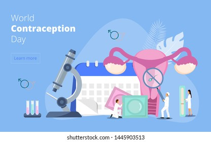 World Contraception Day on September 26th vector. Concept of awareness of contraceptive methods in sexual and reproductive health.