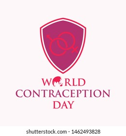 World contraception day with shield in flat style. Holidays around the world of contraception day. Vector illustration EPS.8 EPS.10