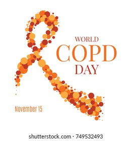 World COPD day poster with an orange ribbon made of dots on white background. Chronic obstructive pulmonary disease awareness month. Medical concept. Vector illustration.