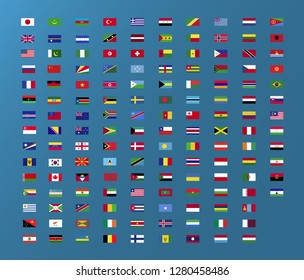 World country flag  set for web and graphic design. Vector flag icon, blue background.