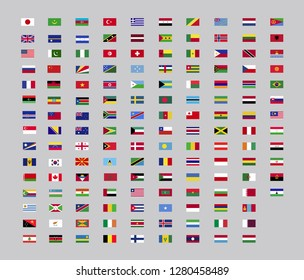 World country flag  set for web and graphic design. Vector flag icon, neutral background.
