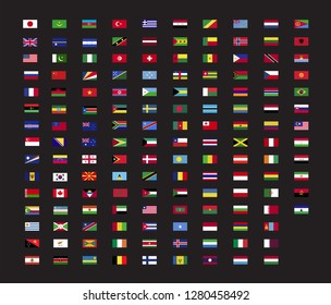 World country flag  set for web and graphic design. Vector flag icon, black background.