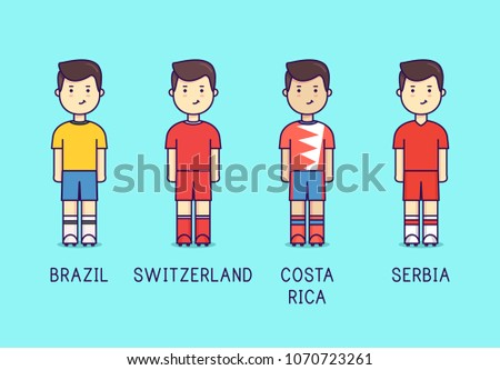 68689882cb3 World cup 2018, Group E. Russia 2018. Brazil, Switzerland. Costa Rica,  Serbia. Football players. Soccer kit. Flat. - Vector