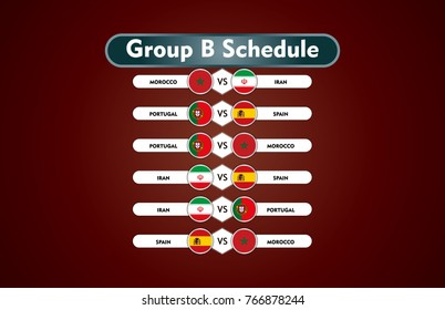World cup russia 2018. match schedule group B vector illustration. eps10.